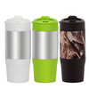SS outer plastic inner 450ml 16oz plastic coffee cups mugs with lid kids personalized plastic mugs coffee thermos travel mug