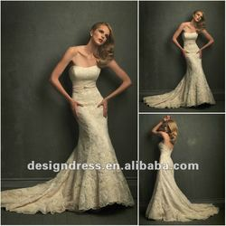 Graceful and sexy A-line strapless empire waist floor-length lace maternity wedding dress bridal gown fashion 2012 DC-GY 56