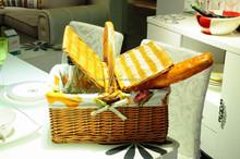 Cheap handmade brown handled willow wicker picnic basket