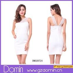 Latest Casual Lace Dress Designs Elegant Sleeveless white lace mini dress for Ladies/ Girls/ Women