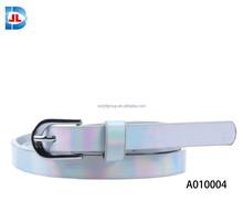 Fashion metallic PU plain skinny belt
