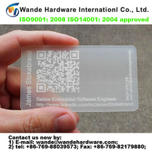 2016 new hot selling custom design unique QR Code frosted 3d business card