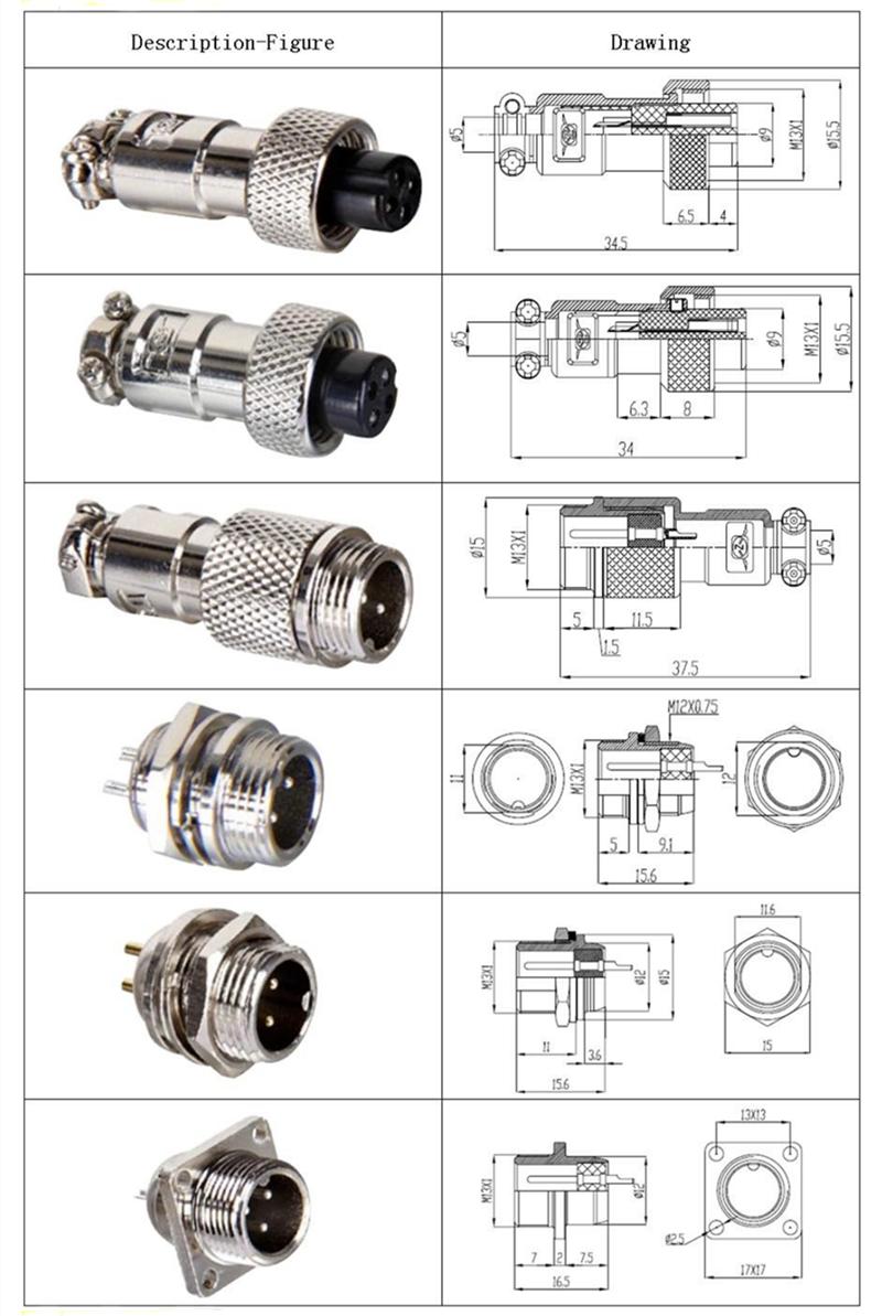 Intelligent Circulaire Connecteur Gx12 Micro Jack Connecteur 3pin Aviation Plug 12mm C U00e2ble