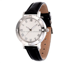Stainless Steel Watch Ladies Genuine Leather Strap Quartz Watch Japan Movement Water Resistant 3ATM