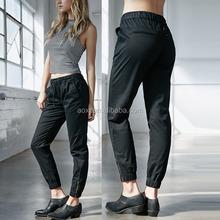 Hot sale zipper leg openning tie waist fitness wear gym tight woman jogging pants