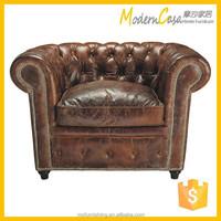 vintage wooden frame leather upholstery sofa