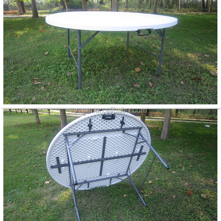 portable picnic table plastic folding table banquet round table trestle table outdoor garden. Black Bedroom Furniture Sets. Home Design Ideas