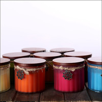 Gear shape string Wax Scented Multi-Colored Frosted glass candle jars From Stock