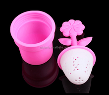 New Items 2015 Novelty flower food silicone Tea Infuser Steeper Strainer With Handle