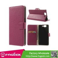 High Quality Litchi Texture Leather Wallet Flip Case Stand for Wiko Highway