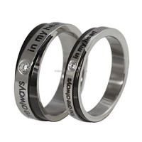 """Stainless Steel Couples Ring """"You are always in my heart"""" for Lovers Engagement Promise,Black & Silver"""