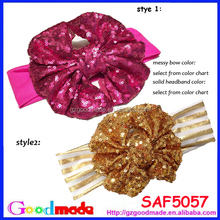 HOT NEW red gold sequin messy bow headband for kids wholesale