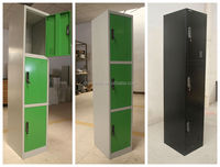 Three door steel locker grey color changing room use steel storage clothes cabinet in India market