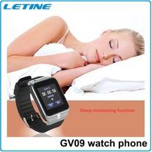 letine nuovo arrivo bluetooth telefono orologio smart gv09 orologio da polso sostenuto tf card per 32g