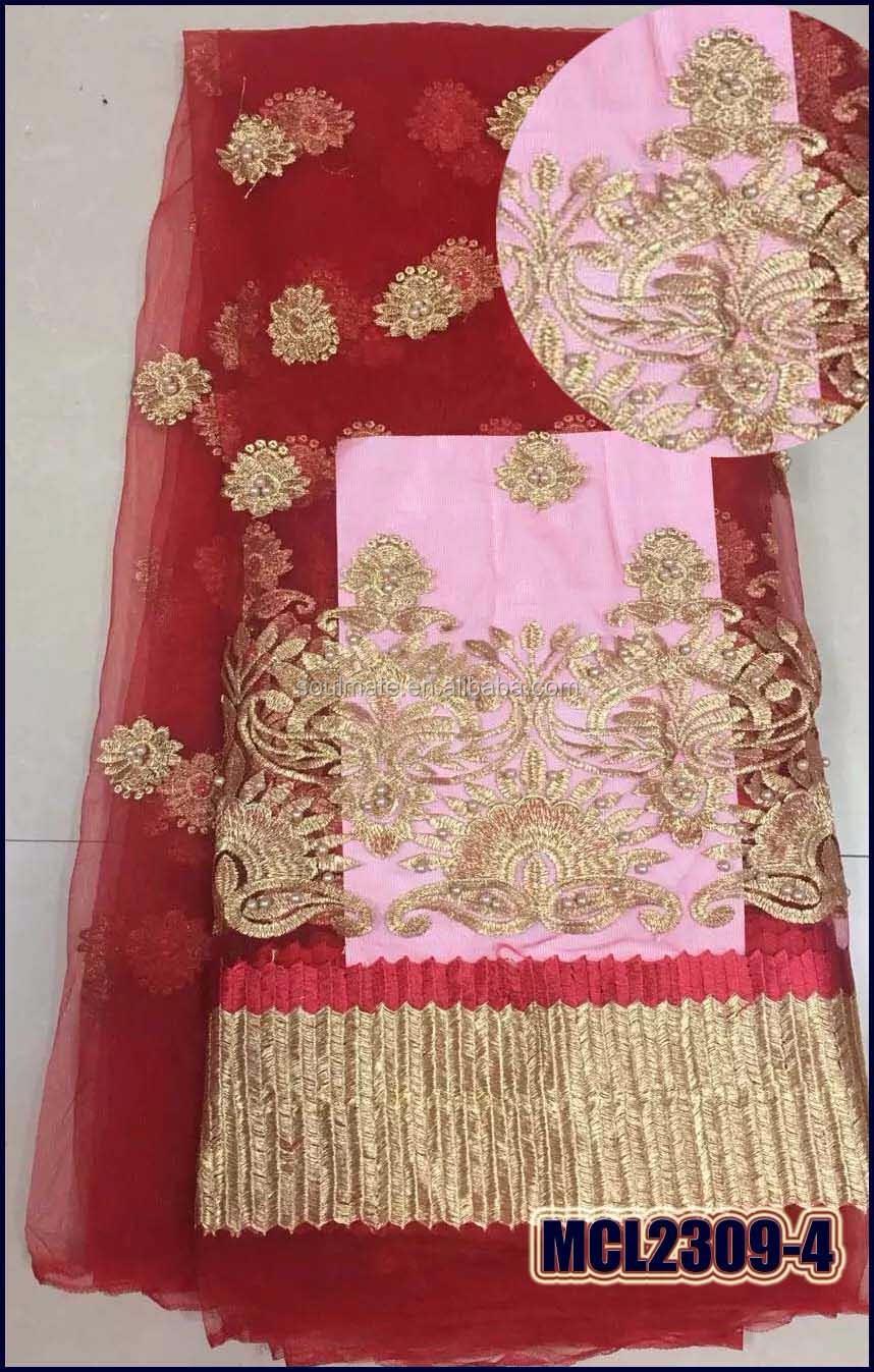 2017 fábrica rojo de lujo vestido de boda tela bordada francesa del ...