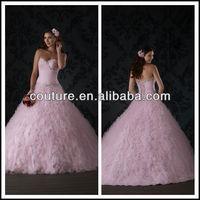 vestidos de novia hot pink boob tube top floor length custom make puffy A line TM1284 hot pink wedding dress