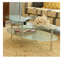 modern design chrome finish glass top cocktail coffee table