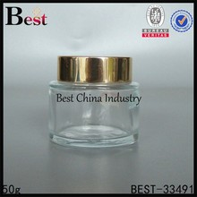 clear glass cosmetic cream container jars with gold aluminium lid, silk printing service, free sample