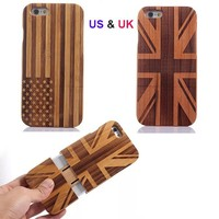 US UK Flag Retro Wood Style For Apple iPhone 6 Wooden Bamboo Hard Case Cover