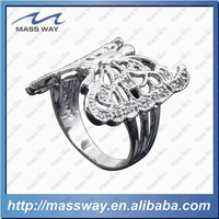 wholesale fashion custom pure silver 3D brass ring