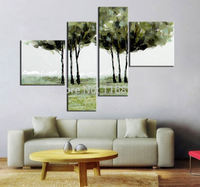 4 panel wall decor art set Abstract big trees in lawn beautiful landscape hand painted Oil knife Painting on Canvas