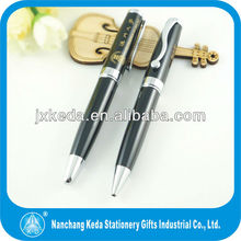 2014 Metal Retractable Printed black ball pen support paypal