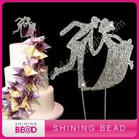 fashion clear rhinestone bride and bridegroom cake topper