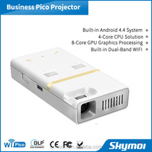 Newest !!! Portable DLP Led Mini pico Mobile projector with android WiFi dual frequency wireless HDMI USB for home cinema use