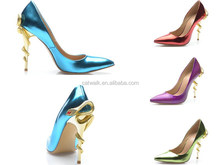 Sexy Metal Snake Up Heels Pumps Patent Leather Heels Shoes Pointed Toe Footwear China Wholesale High Heel Women Hand Shoes