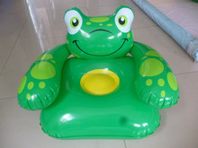 PVC inflatable frog animal children chair, frog animal shape kids inflatable sofa for promotion