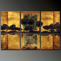 handmade home decor gold foil scenery 3 panel oil painting on canvas