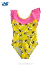 Fashion young girls' one piece beachwear bikini of small bee print and tassels