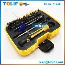 43 in 1 Screwdriver set Laptop computers and mobile phone repair machine tools kit for iphone 6, ipad, samsung s6 s4, HTC phone