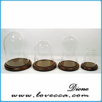 2015 best selling Clear Glass Bell Jar Glass Dome with Wood Base