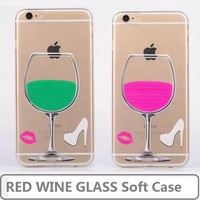 Premium Clear Soft TPU Case for iPhone 6,for iPhone 6 Cell Phone Case,for iPhone 6 red wine Glass Case
