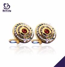Round shape wholesale gold plating cufflinks with epoxy