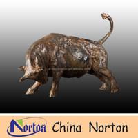 Bronze Wall Street Bull Statue - Brown Color Wall Street Bull Sculpture - Micro Miniature Wall Street Bull NTBH-B059C