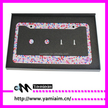 Mixed color diamond crystal License Plate Frame Car accessories Auto OEM Girly gift