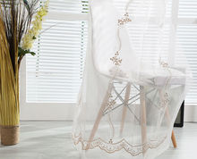 2016 Popular European style embroidery curtains sheer window drapery in living room