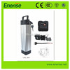 relaible 250W 24V 9AH 18650 LiFePO4 Lithium Silver Fish Battery pack(bottom discharging) with 2A Charger for electric bike