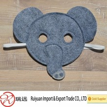 2015 fashion half face custom party cute elephant felt mask for promotional gift