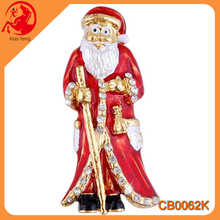 Fashion Metallic Colorful Rhinestone Santa Claus Shape Brooch Top Quality Crystal Brooch For Christmas Cheap Christmas Brooch