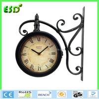 2015 new design metal outdoor double clock