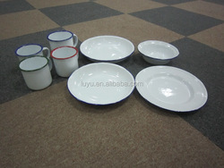 High quality enamel mugs,plates,bowls for camping dinnerware stock lot to european and american