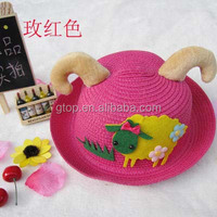 cartoon sheep straw hats fabric flower bucket sun caps for kids 03
