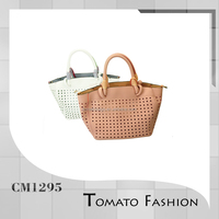 quality pu leather perforated large two compartment tote bag