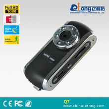 Battery supply and portable 1920*1080P full HD 5.0MP pinhole invisible night vision wide angle portable mini camcorder(Q7)