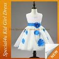 Crianças meninas azul royal e branco vestidos de casamento SFUBD-963