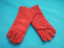 safety leather labor protection gloves cow spilt gloves 14 inch gloves red leather gloves