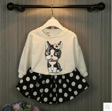 Kids summer new girls cartoon pattern + wave point skirt suits manufacturers, accusing